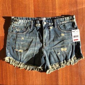 NWT Free People Distressed Demin Shorts Eagle Wash